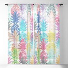 Hawaiian Pineapple Pattern Tropical Watercolor Sheer Curtain