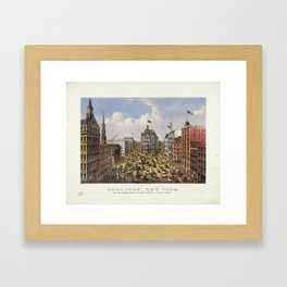 Broadway, New York by Currier & Ives (1875) Framed Art Print