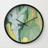 cacti Wall Clocks featuring Cacti by Julia Walters Illustration