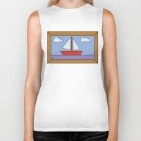 simpsons Biker Tanks featuring Simpsons Sailboat Artwork by d3mentia