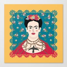 Frida Viva Cushion Yellow Canvas Print