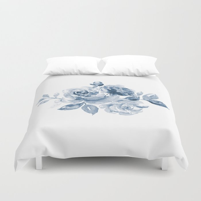 Blue and White Rose Bouquet Duvet Cover