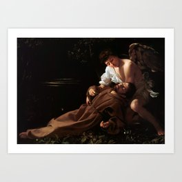 Saint Francis of Assisi in Ecstasy by Caravaggio (1595) Art Print