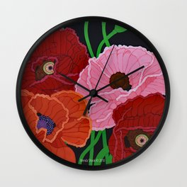 Four Poppies and Seed Pods, acrylic, 2010 Wall Clock