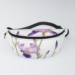 Violet irises botanical artprint Fanny Pack