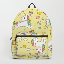Unicorn Yellow Pattern Backpack