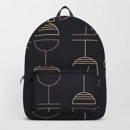 Art Deco Gold Red Ovals on Black Background Backpack