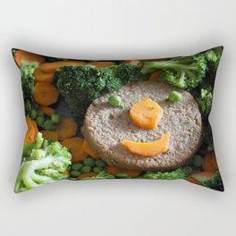 Vegan food. Smiling soy burger. Rectangular Pillow
