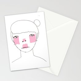 Line Drawing of Girl with Bun  Stationery Cards