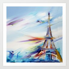 TARDIS IN RAINBOW TOWER Art Print