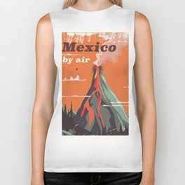 Mexico Vintage volcano travel poster Biker Tank