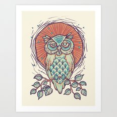 Owl on branch Art Print