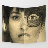 allyson johnson Wall Tapestries featuring DAKOTA JOHNSON / ANASTASIA STEELE - FIFTY SHADES DARKER by Virginieferreux