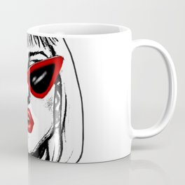 Punk Girl in Sunglasses with Red Lips Coffee Mug