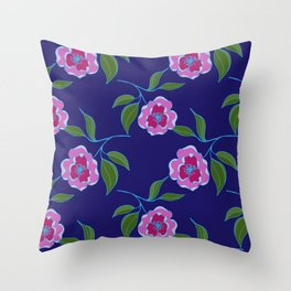 Peony Floral Floating Pattern Throw Pillow