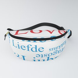 Word Love in different languages Fanny Pack