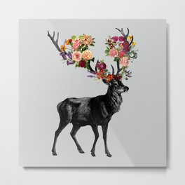 Spring Itself Deer Floral Metal Print
