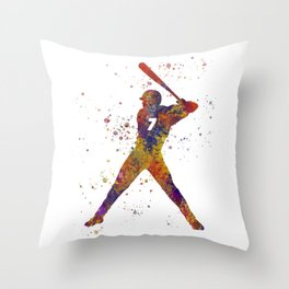 Baseball player isolated 09 in watercolor Throw Pillow