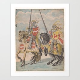 Knights with the family arms of Brandes and Hirschman, Jan Brandes, 1770 - 1808 Art Print