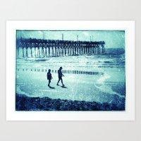 Blue Pier Walk Art Print