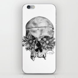Skull and Flowers Drawing iPhone Skin