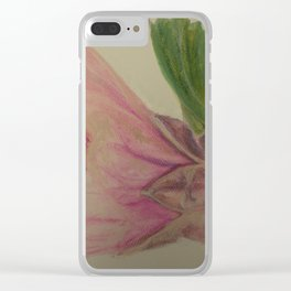 Pink Flowering Maple watercolor pencil sketch Clear iPhone Case