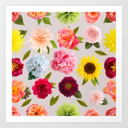 Paper flower pattern Art Print
