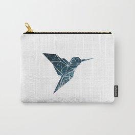 Geometric Hummingbird, Blue Hummingbird Art Carry-All Pouch