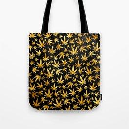 Black Gold Weed Pattern Tote Bag