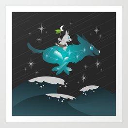 Wiki and Yuki - Crossing Waves Art Print