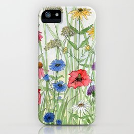 Watercolor of Garden Flower Medley iPhone Case