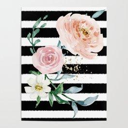 Rose Arrangement on Black Stripes No. 1 Poster