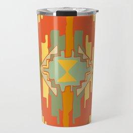 Ikat 3 Orange green tribal pattern Travel Mug