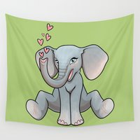 baby elephant Wall Tapestries featuring Baby Elephant by Beryl Kruger
