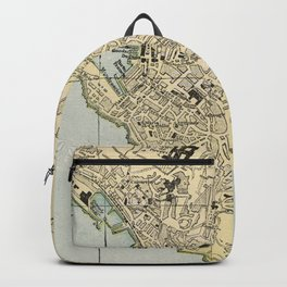 Vintage Map of Genoa Italy (1901) Backpack
