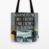lincoln Tote Bags featuring Lincoln  by Oliver Dominguez