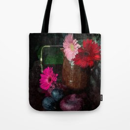 Still life with figs, onions and gerberas Tote Bag