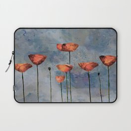 Poppyfield against the blue sky - abstract watercolor artwork Laptop Sleeve