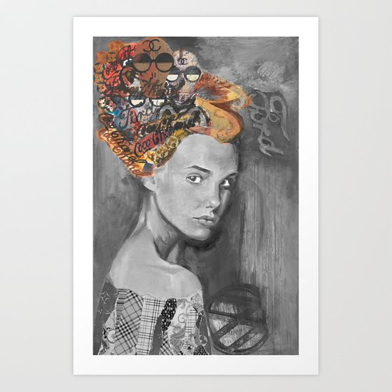 Dame black and white  Art Print