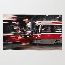 Red buses street Rug