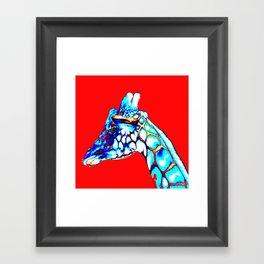 Colorful Giraffe Red (Left facing) Framed Art Print