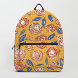 Floral Pattern #13 | Orange, Coral and Navy Blue Backpack
