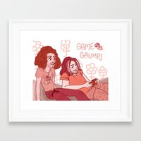 game grumps Framed Art Prints featuring Pink Grumps by logicasOcenenie