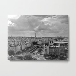 View from Notre Dame B&W Metal Print