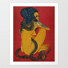 Woman with Snake (Red) 2019. Art Print