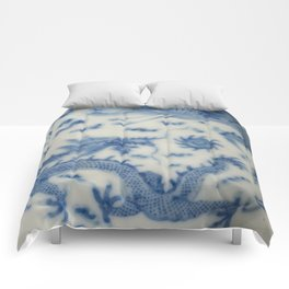 Damask vintage Monaco blue white girly ginger jar floral antique chinese dragon chinoiserie china Comforters