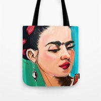 frida Tote Bags featuring Frida by Jaleesa McLean