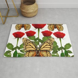 RED ROSES  & MONARCH BUTTERFLIES ART Rug