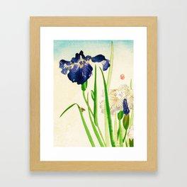 Blue Iris Japanese Watercolor Print Framed Art Print