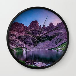 Purple Mountain Lake // Rocky Peak Crescent Moon Incredible Colorful Sunset Beauty Wall Clock